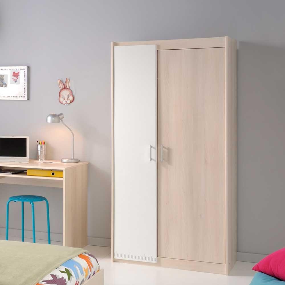 Pharao24 Kleiderschrank für Kinderzimmer Akazie Weiß