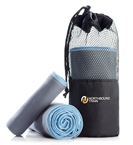 (Northbound Train Fast Drying Microfiber Towel Set for Gym, Travel, Camping, Hair. Large Bath and Sports Towels + Compact Mesh Pack. Super Absorbent, Quick Dry Technology Plus.)