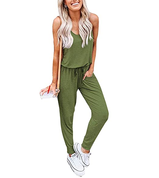 5a3ca5f24a0d Amazon.com  Artfish Women Summer Sleeveless Jumpsuit Solid Casual Pants  Romper with Pockets  Clothing