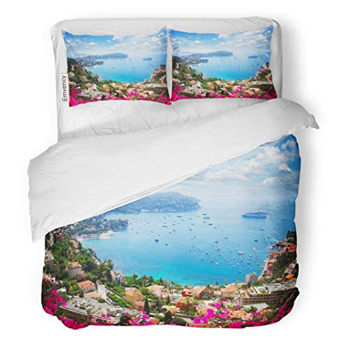 Semtomn Decor Duvet Cover Set Twin Size Lanscape of Riviera Coast Turquiose Water Flowers and Blue 3 Piece Brushed Microfiber Fabric Print Bedding Set Cover