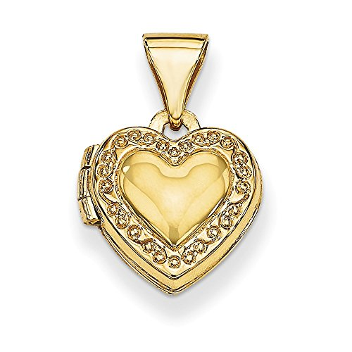Solid 14k Yellow Gold Heart Locket (10mm x 15mm)