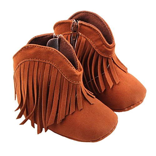 Cowgirl Baby Boots (Itaar Baby Girls Boots Tassel Soft Bottom Non-slip Winter Warm Infant Toddler Shoes)