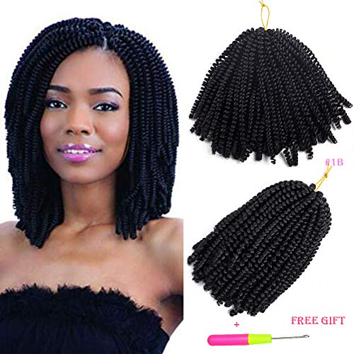 Spring Twist 3Pcs Havana Mambo Crochet Braids Afro Kinky Twist Braiding Hair Extensions Synthetic Hair 8 Inch (#1B)