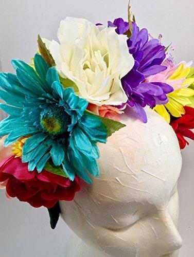 Flower Crown Day of the Dead Mexican Wedding Headband Dia de los Muertos Halloween (Frida Kahlo Costume Halloween)