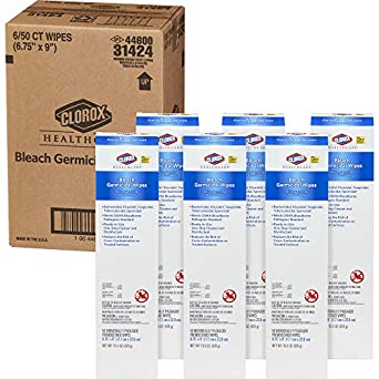 Clorox Healthcare Bleach - Toallitas germicidas, 50 paquetes individuales, 6 cajas/cajas: Amazon.es: Amazon.es