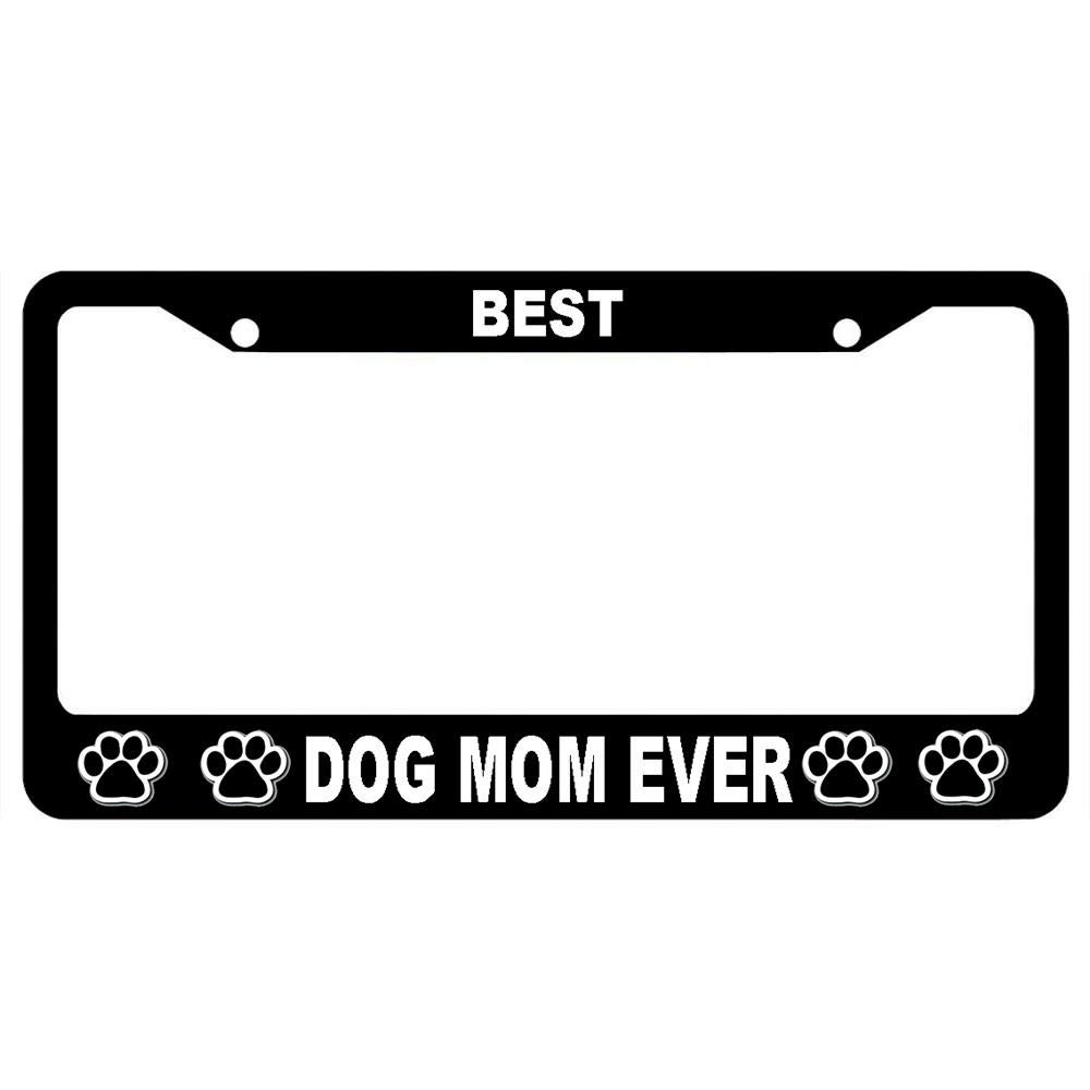 URCustomPro Customized Black License Plate Frame Tag Dog Lovers Auto Car Plate Frame Stainless Steel License Tag Holder