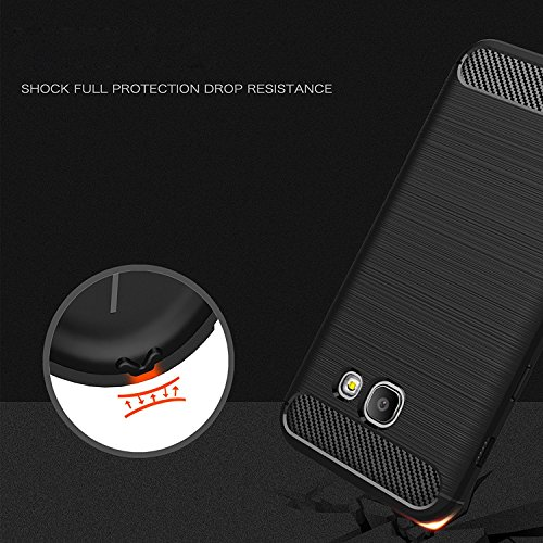 Funda Samsung Galaxy J7 Prime, EUGO Protector Funda Negro Gel de Silicona Carcasa Fibra de Carbono Funda para Samsung Galaxy J7 Prime Samsung Galaxy A3 (2017)