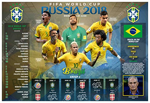 PosterWarehouse2017 BRAZIL'S 2018 FIFA WORLD CUP SOCCER TEAM COMMEMORATIVE POSTER