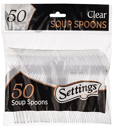 Settings Clear Plastic Cutlery Disposable Soup Spoons 50 Party Spoons Per Package -