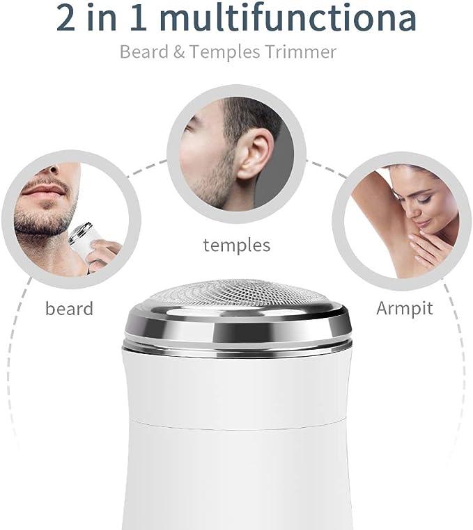 Mini Afeitadora Eléctrica para Hombres, ANLAN Afeitadora Portatil con USB Recargable Depiladora Facial (Blanco ...