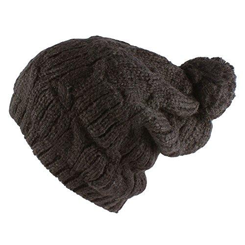 Morehats Crochet Knit Slouchy Pom Pom Beanie Winter Ski Hat - Charcoal