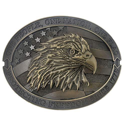 Exos Patriotic American Mens Western Eagle Belt Buckle (Western Sheriff Belts)