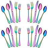Silverware Set,20-Piece Stainless Steel Flatware Set,Tableware Set,Dinnerware Set Service for 4 (Rainbow Multicolor)