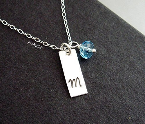 Small Vertical Bar Necklace, Personalized Birthstone Bar Pendant Necklace / Initial Bridesmaid Necklace, Delicate Mothers Necklace