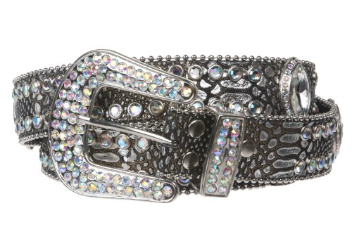 Snap On Western Rhinestone Cone Ornaments Croco Print Leather Belt Size: M/L - 38 Color: Pewter