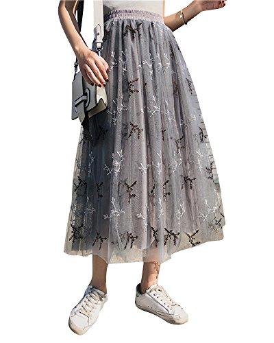 DianShaoA Femme Elegant Broderie Longue Fluide Tutu Jupe en Tulle Taille Haute Gris