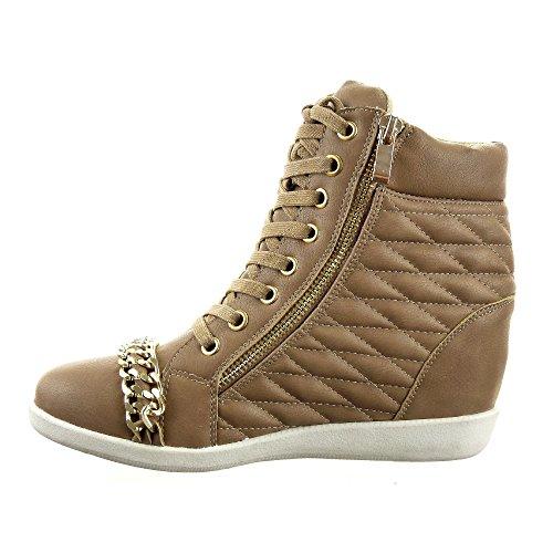 Sopily - damen Mode Schuhe Sneaker Keilabsatz Hohe gesteppt schuhe Kette metallisch Reißverschluss Schuhabsatz Keilabsatz - Taupe