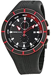 Momo Design Highway Black and Red Dial Black Silicone Mens Watch MD1013BK-11