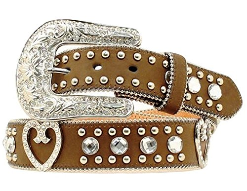 Blazin Roxx Women's Crystal Hearts Large Rhinestones Belt, Medium Brown Distressed, S