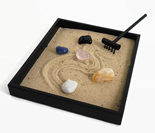 Quartz Gemstone Zen Garden Healing Crystals Set - Zen Decor for Office or Home Relaxation and Stress Reduction Gifts Quartz Stone Desk Accessories