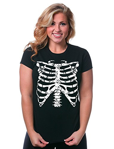 Pop Culture Halloween Costumes For Men (Juniors Funny Rib Cage Skeleton Halloween Costume Goth Punk Horror EMO T-Shirt)