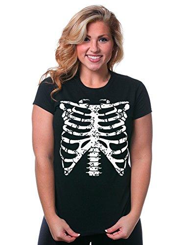 Juniors Funny Rib Cage Skeleton Halloween Costume Goth Punk Horror EMO T-Shirt