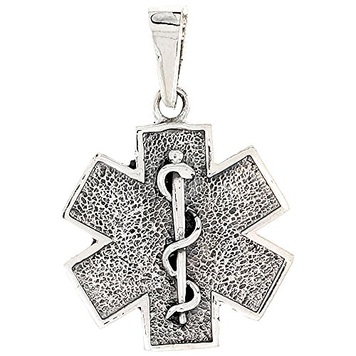 Sterling Silver Star of Life Medical Alert Charm, 3/4 inch tall (Charm Necklace Star Silver)