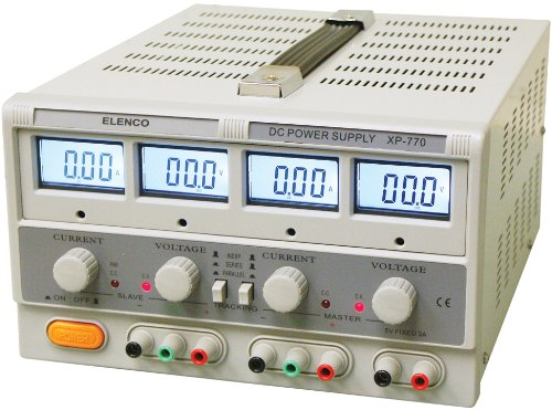- Elenco XP-770  Triple Output Power Supply: Dual 0-20 2A and 5-volt 2A LCD Display