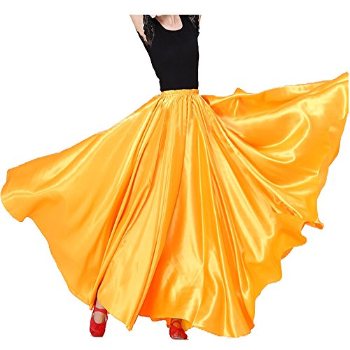 (Womens Elegant Ballroom Long Latin Belly Dance Full Circle Dance Skirt (Yellow))