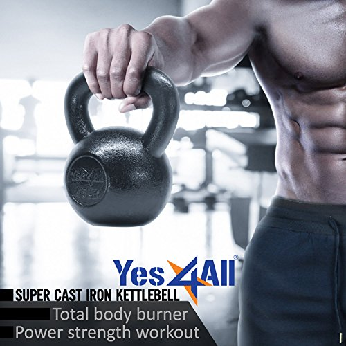 Yes4All  Combo Cast Iron Kettlebell Weight Sets – Great for Full Body Workout and Strength Training – Kettlebells 5 10 15 lbs (Black) by Yes4All (Image #6)