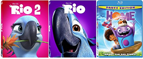 Rio 1 & 2 & Home Blu Ray Dreamworks Animated Bundle Cartoons movie Set