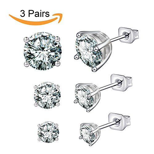 Anni Coco Jewelry 18K White Gold Plated Stainless Steel Clear CZ Cubic Zirconia Ear Stud Earrings Set (3-6 Pairs,0.25-3 ct)