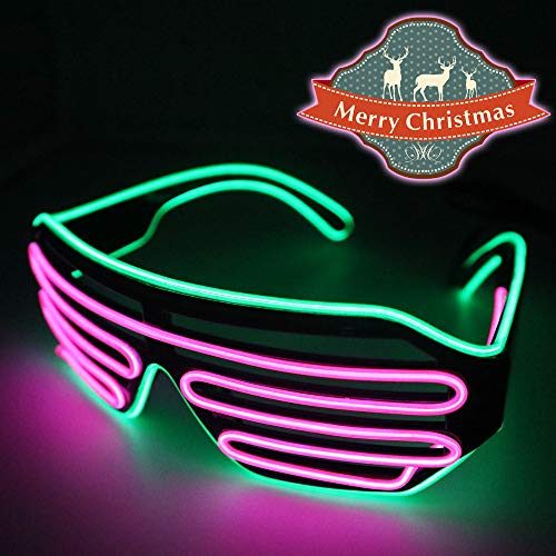 YJLWE LED Light Up Glasses Party Flashing EL Wire Neon Rave Glasses for Kids and Adults Carnival Halloween Disco Bar DJ Glowing Décor Red and Green