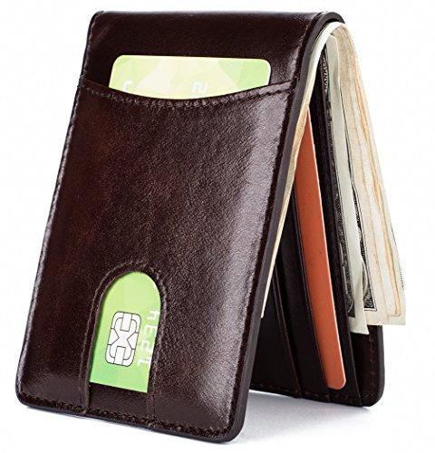Mens Leather Wallet Slim Front Pocket Wallet Billfold ID Window RFID Blocking - Coffee