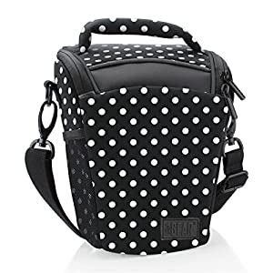 Portable DSLR Camera Case Bag with Top Loading Accesibility , Shoulder Sling and Weather Resistant Bottom by USA Gear - Works With Canon , Nikon , Sony , Pentax and More - Polka Dot