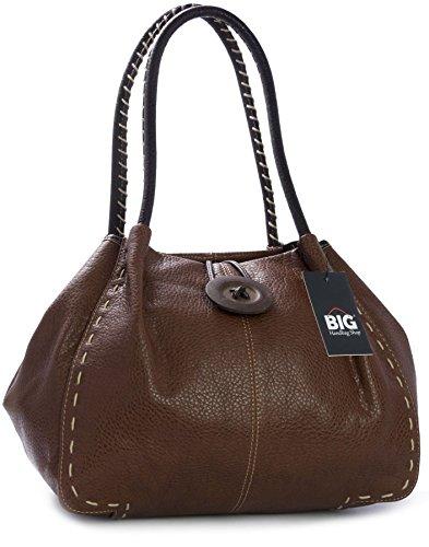 Donna One Tan Borsa bh341 Shop Big dark Spalla Marrone A Handbag YzYwEX