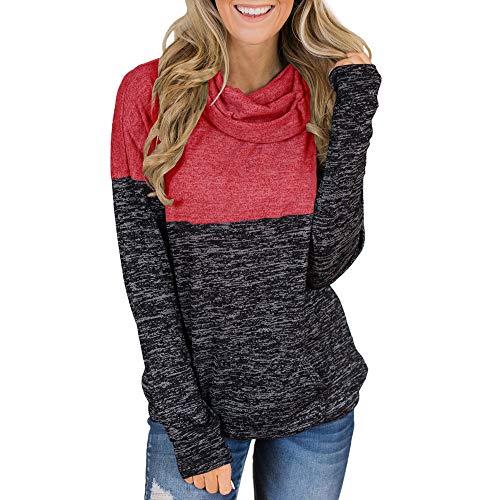 (✦HebeTop✦ Women's Warm Long Sleeves Oblique Button Neck Splice Geometric Pattern Fleece Pullover Coat Sweatshirts Outwear Red)