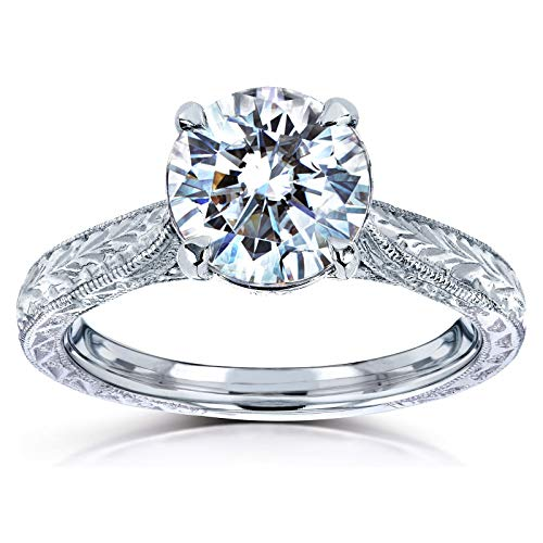 (Antique Style Moissanite Engagement Ring 1 1/2 CTW 14k White Gold, Size 9)