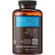 Amazon Elements Calcium Complex with Vitamin D, Vegan, 195 Capsules