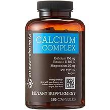 Amazon Brand - Amazon Elements Calcium Complex with Vitamin D, Vegan, 195 Capsules, 2 month supply