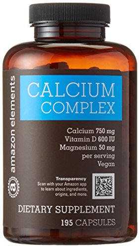 Amazon Brand - Amazon Elements Calcium Complex with Vitamin D, Vegan, 195 Capsules, 2 month supply