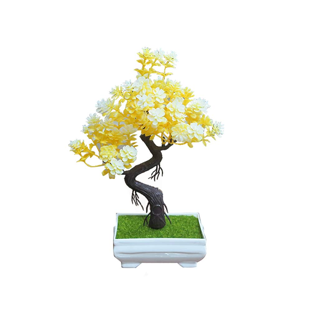 Finance Plan Clearance Sale Artificial Potted Tree Bonsai Simulation Plant Home Decor Table Centerpieces Yellow