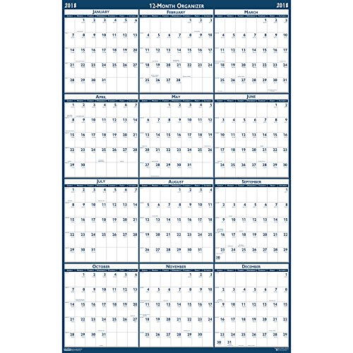 House of Doolittle 2018 Laminated Wall Calendar, Reversible, Horizontal/Vertical, 66 x 33 Inches, January - December (Laminated House)
