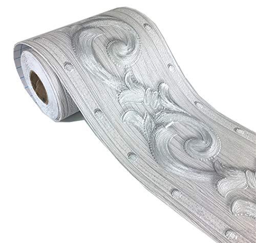 Elegant Silver Grey Floral Molding Wallpaper Border Peel Stick Home Ceiling Decorative Border for Bathroom Living Room Kitchen 4inch by ()