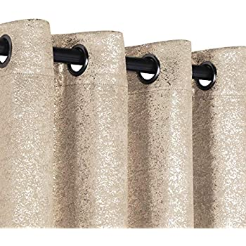 GoodGram 2 Pack Sparkle Chic Thermal Blackout Curtain Panels - Assorted Colors & Sizes (Beige, 84 in. Long)