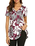 Sweetnight Women Floral Print V Neck Button Decor Peasant Summer Swing Tunic Shirts (Red, M)