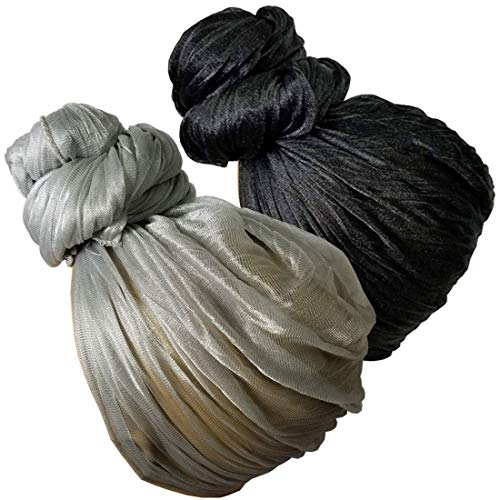 Stretch Head Wrap - Long Black Head Wrap Turban Hair Scarf Tie Color Headband 1 or 2 Set (4a bb -