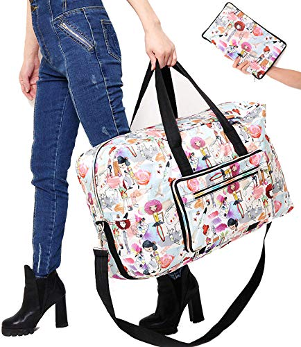 (Large Travel Duffel Bag Foldable Large Travel Bag Weekend Bag Checked Bag Luggage Tote 18 Style 21.6IN x 9.8IN x 13.7IN (painting girl))