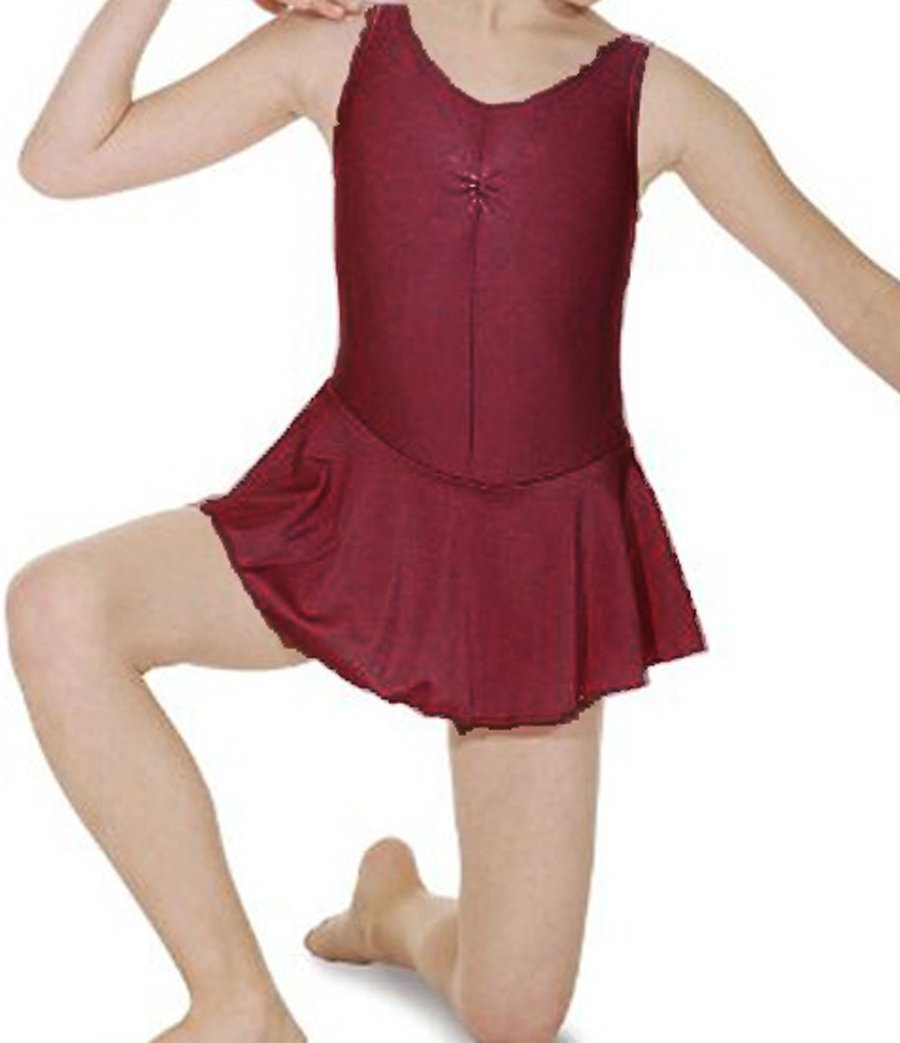 Girls Ballet//Dance Leotard//Dress Ruched front with attached skirt ISTD /& NATD Burgundy, 6-8 years