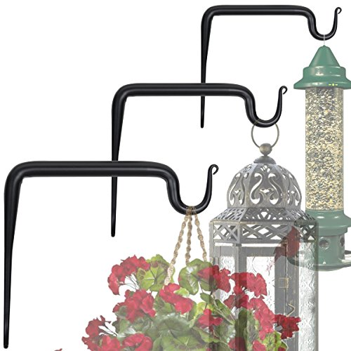 Wallniture Wall Mounted Iron Forged Bracket - Hook for Hanging Planters Flower Pots and Lanterns Black Set of (Flower Pot Brackets)